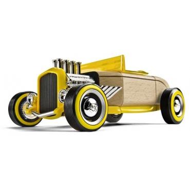 Hot Rod HR2 galben, jucarie din lemn